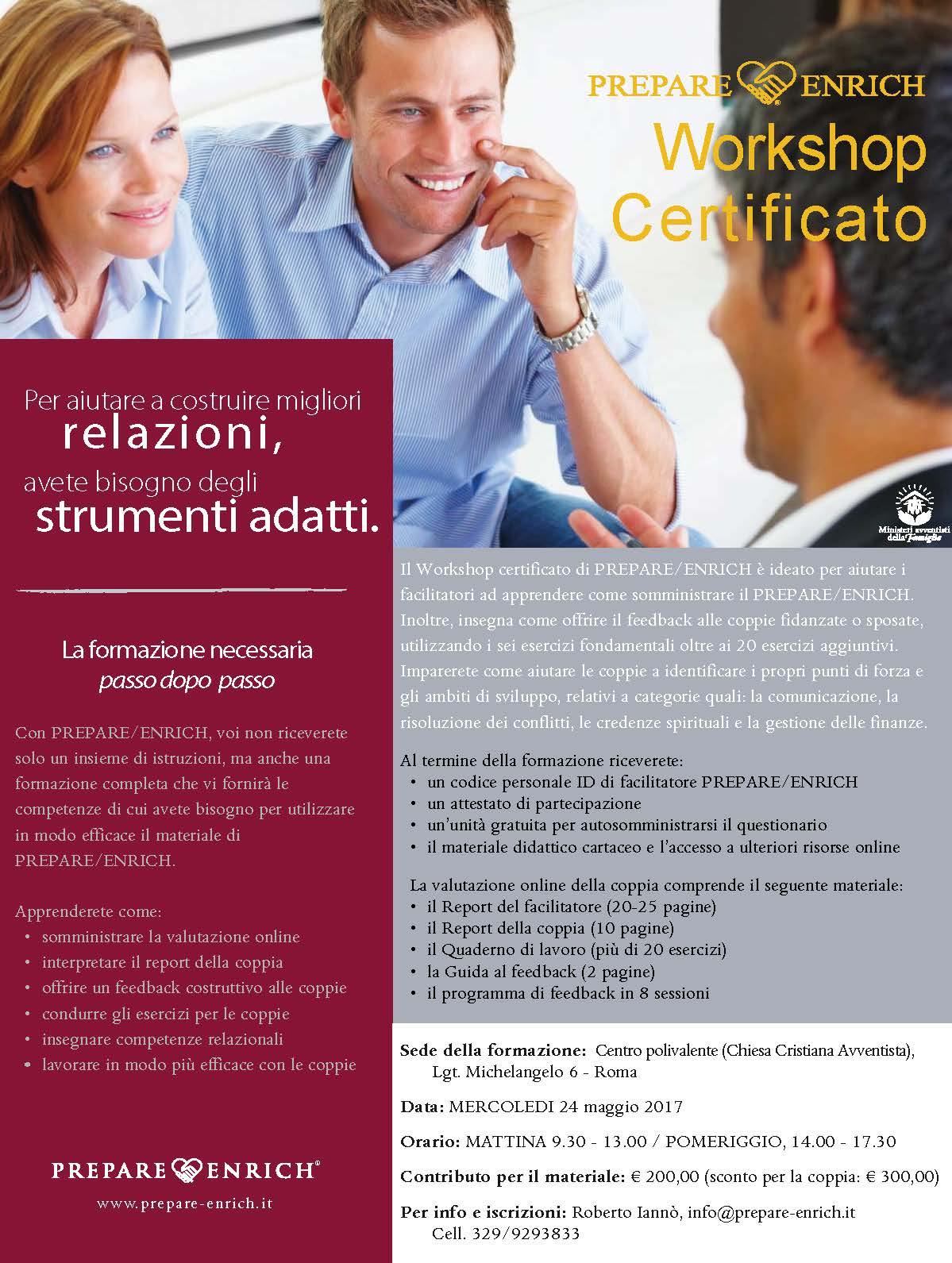 Workshop Certificato, maggio 2017