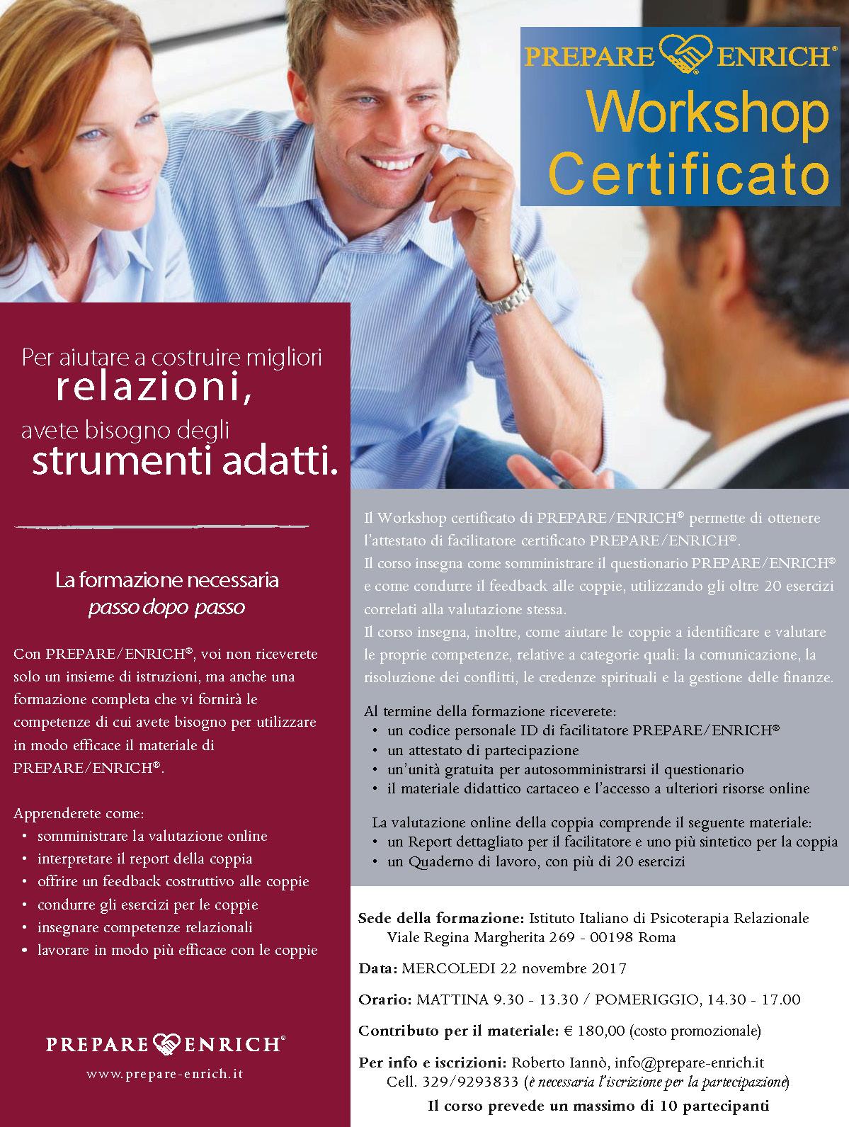 Workshop Certificato, novembre 2017