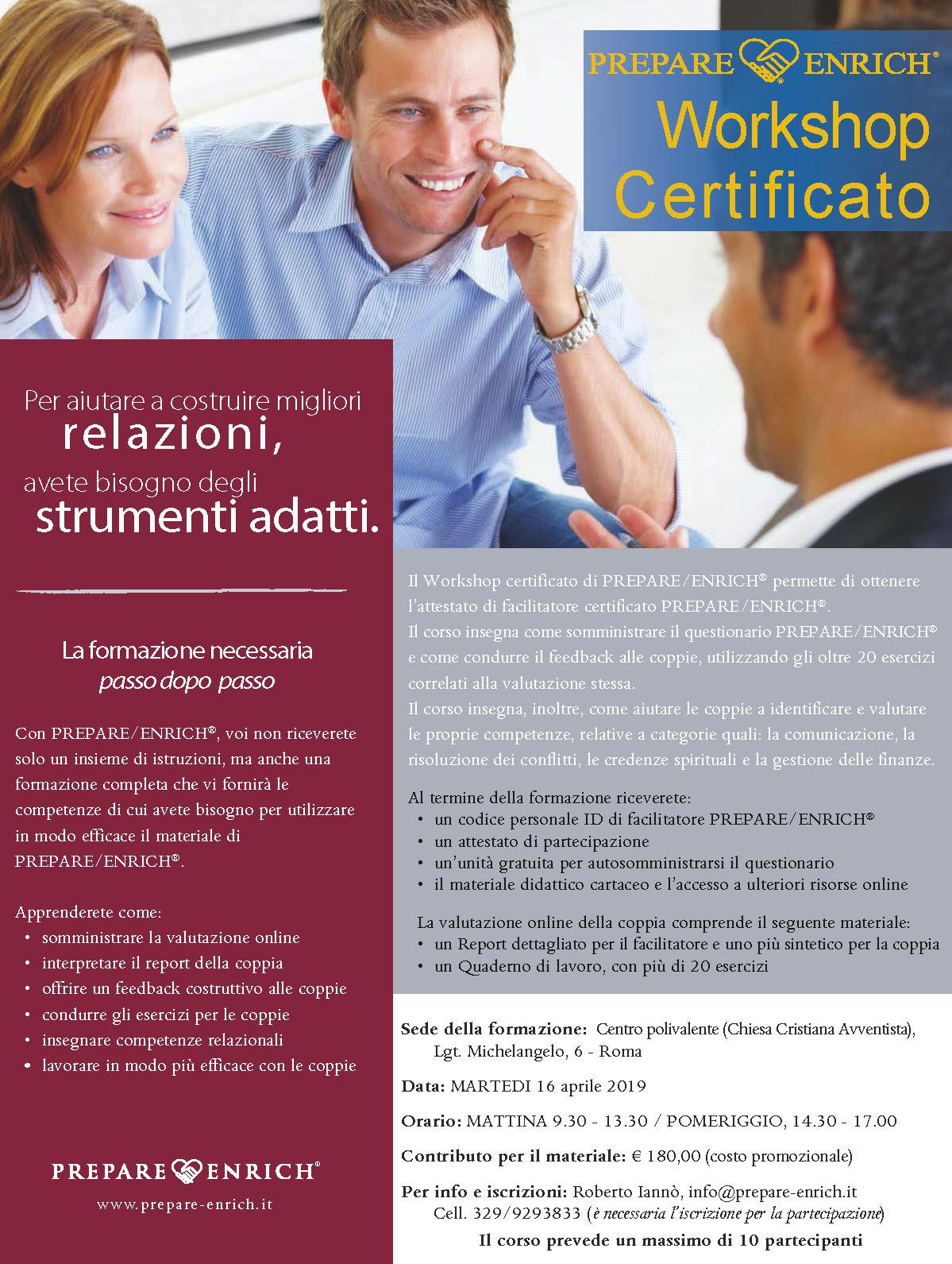 Workshop Certificato, aprile 2019