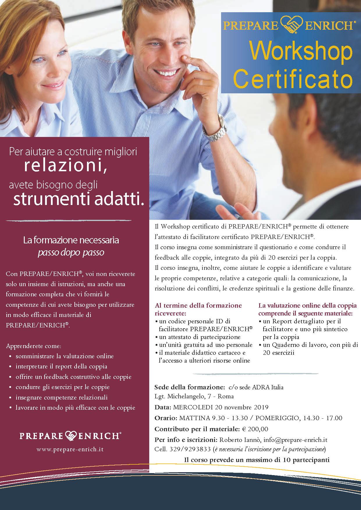 Workshop Certificato, novembre 2019